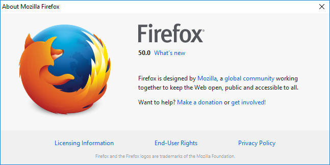 Browser testing in Firefox 50
