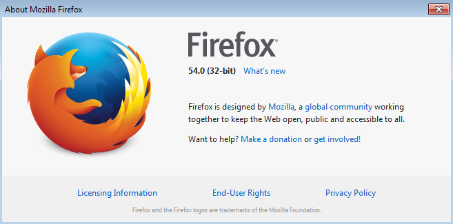 Firefox 54 About Dialog