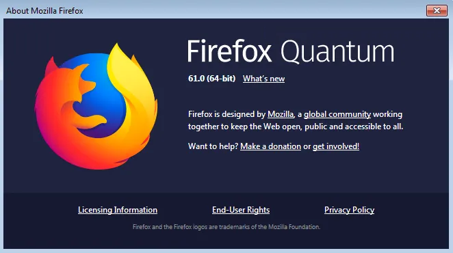 Firefox 61 About Dialog