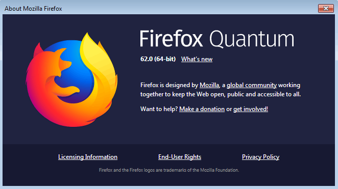 Firefox 62 About Dialog