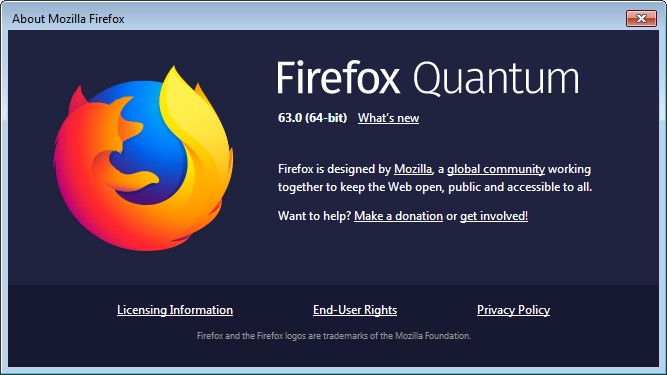 Firefox 63 About Dialog