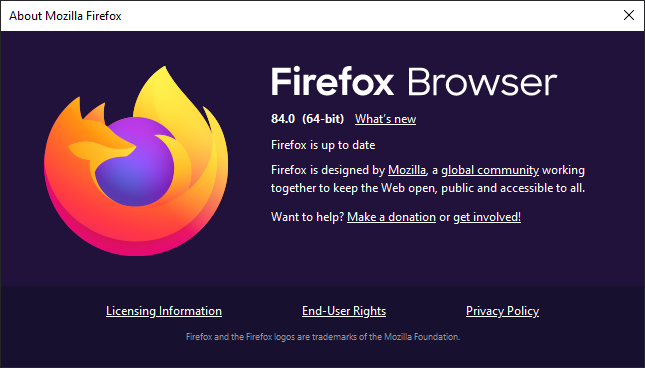 Firefox 84 About Dialog