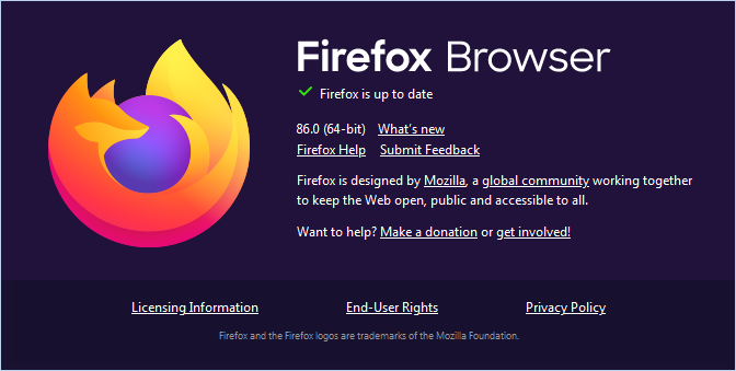 Firefox 86 About Dialog