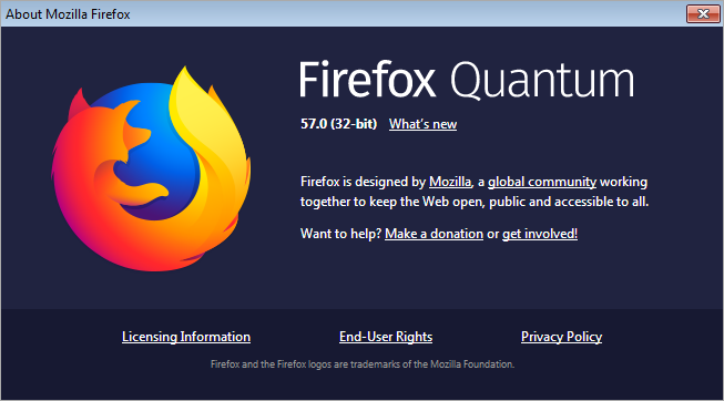 Firefox 57 About Dialog