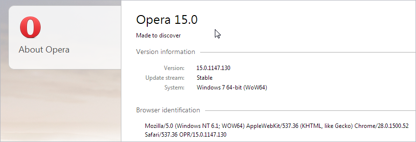Opera 15 is based on Chrome